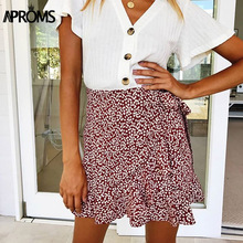 Aproms Multi Dot Print Short Mini Skirts Women Summer Ruffle High Waist Bow Tie Skirt Ladies Streetwear Slim Bottoms Saias 2019