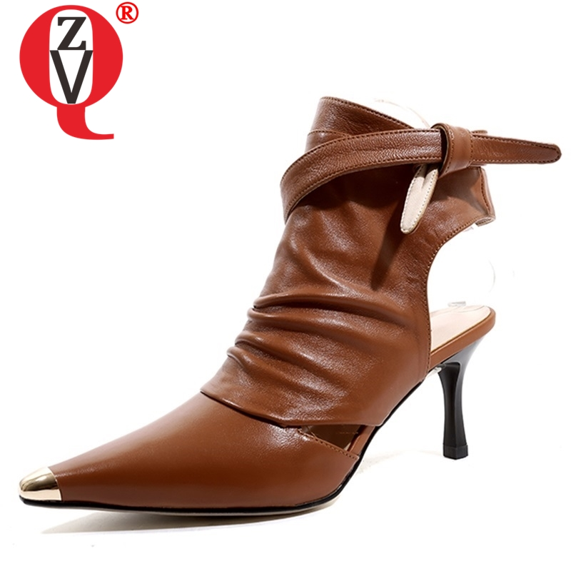 ZVQ woman shoes 2019 spring new fashion sexy pointed toe cross-tied woman pumps outside high thin heels genuine leather shoesZVQ woman shoes 2019 spring new fashion sexy pointed toe cross-tied woman pumps outside high thin heels genuine leather shoes