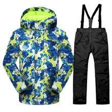 Phibee корейских мальчиков или девочек лыжная куртка и брюки ветрозащитный водонепроницаемый дети сноуборд костюм-30 градусов