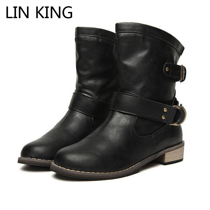 LIN KING Women Motorcycle Boots New Female Spring and Autumn Fashion Woman's Martin Boots Flat Vintage Buckle Casual Lady Boots zhen zhou 2017 spring and autumn women s new fashion trend leadership the increased martin boots exemption from postage