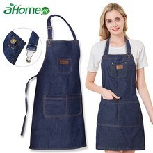 Unisex Simple Denim Apron Kitchen Accessory Sleeveless Cooking Restaurant Barista Work Durable Sanitary Baking