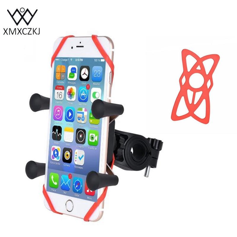 XMXCZKJ Universal X-grip Ponsel Sepeda Motor Gunung Berdiri Pemegang Sepeda Aksesoris Ponsel Untuk iPhone Samsung Xiaomi HTC Gps