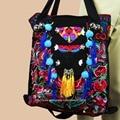 2-Usage Vintage Hmong Tribal Ethnic Thai Indian Boho shoulder bag messenger tote bag handmade, embroidery pom trim bell SYS-474B