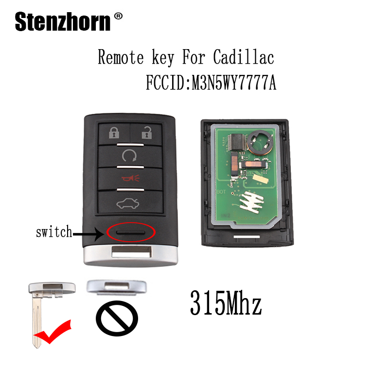 Stenzhorn 5Buttons 315Mhe Smart Remote key For Cadillac CTS STS 2008 2009 2010 2011 For Cadillac M3N5WY7777A Original keys