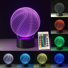 Basketball 3D Night Lights USB LED Lights Visual Lights 7 Colors Remote Control Table Lamp Atmosphere Lamp Kid Birthday Gift cheap ROUND FGHGF HOLIDAY ROHS Touch Dry Battery LED Bulbs 0-5W
