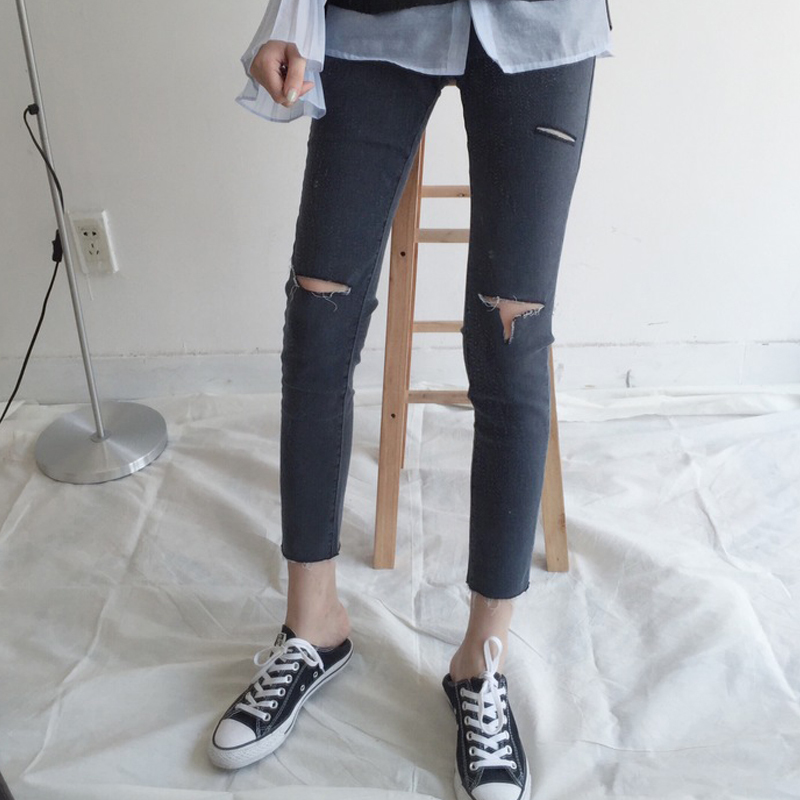 Stretch Jeans Female Denim Pants Slim Ripped Holes Pencil Pants Ladies Pantalon Femme Elastic High Waist Clothing For Women
