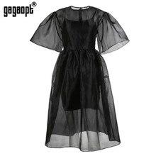 Gagaopt 2018 Summer Dress Women Lantern Sleeve Vintage Ball Gown Long Dresses Black 2 piece Elegant Party Dresses Vestidos