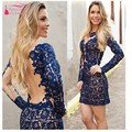 V Neck Knee Length Blue Lace Long Sleeves Cocktail Dresses 2017 Cheap Party Dress Gown Women Lady Gown Sexy Wear Navy Blue