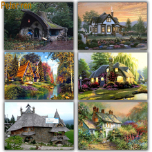 Diy diamond mosaic Landscape series full diamond embroidery house 5d square diamond painting icons beads Fairy tale cottage painting 5d diy diamond embroidery home diamond square diamond mosaic full embroidery icons landscape series