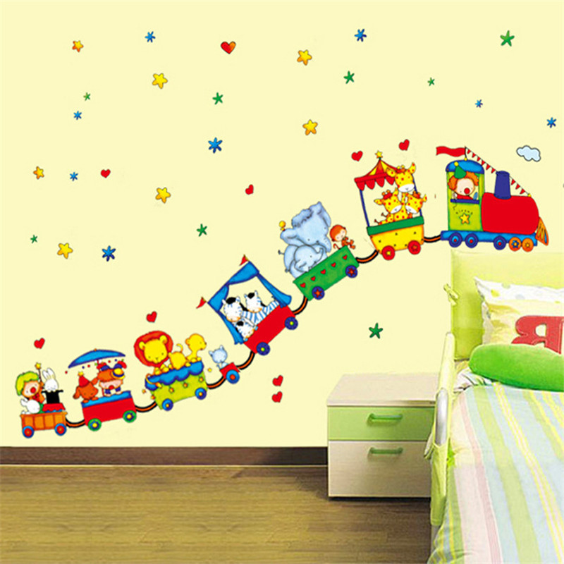 Online Shop Small train Circus Combination Wall Stickers Children\'s ...