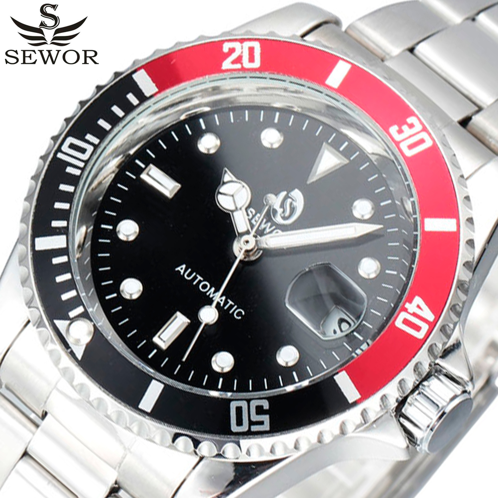 2017 SEWOR Stainless Steel Watches Auto Date Men Top Brand Luxury Sport Automatic Mechanical Watch Clock Men Army Military Watch 2017 men s fashion top luxury brand sewor full steel sport wristwatch tachymeter skeleton automatic mechanical military watches