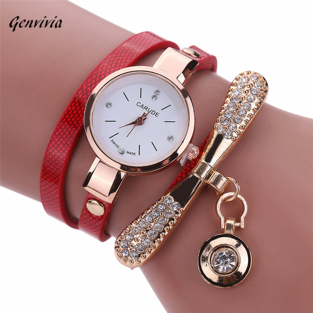 Genvivia Fashion ladies Women watch Leather Rhinestone Analog Quartz Wrist Watch