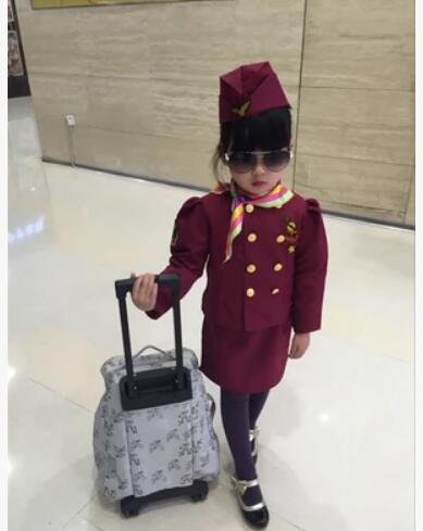 100-160cm Halloween Cosplay Costume For Kid Policeman Astronaut Pilot Party Fantasia flight attendant dress Minority costume