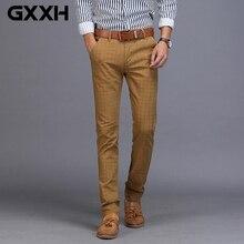 Для Мужчин's Бизнес Повседневное брюки тенденция Дизайнер Хлопок Slim Fit клетчатые брюки Мужской платье для отдыха Длинные брюки классические джоггеры цвет: черный, синий