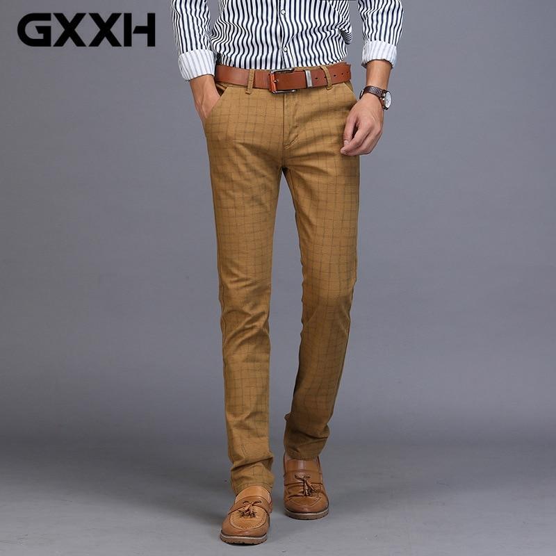 Menu0026#39;s Business Casual Pants Trend Designer Cotton Slim Fit PlaId Pants Male Dress Leisure Long ...