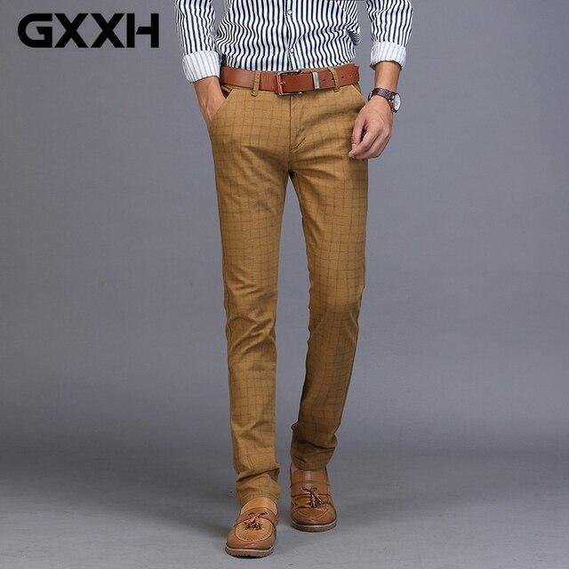 0e8d8025d53 Men s Business Casual Pants Trend Designer Cotton Slim Fit PlaId Pants Male  Dress Leisure Long Trouser