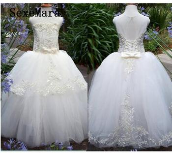 Ivory White Flower Girl Dresses Ball Gown Puffy Tulle Lace Ball Gown Kids Wedding Party Dresses Birthday Gown Real Pictures