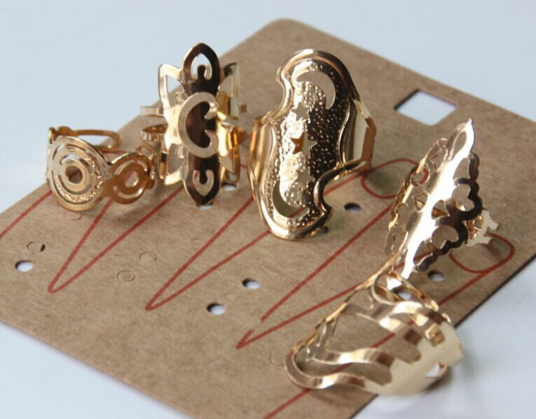 Saudi Arabia New Fashion 5pcs set Gold Cocktail Ring Round Hollow
