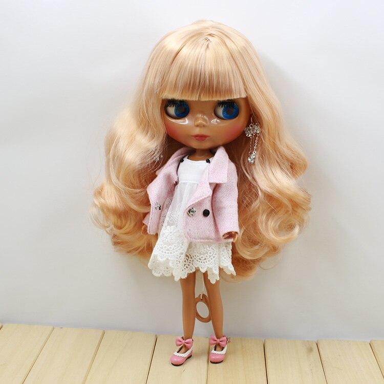 factory blyth Doll bjd neo 230BL22403139 golden mix wavy hair dark skin with bangs fringes 1