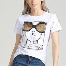 GUMPRUN Women Clothes 2019 Vogue Print T Shirt Summer Sequin Human Face Graphic Streetwear Wild Casual White Tops Tshirt