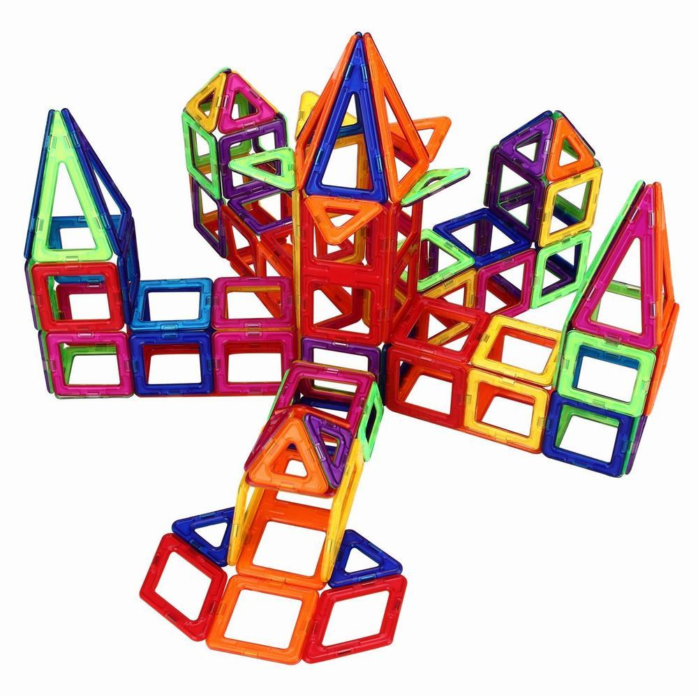 188PCS Set 3D Magnetic Building Blocks Model Kit Standard Size Magnet Constructor DIY Enlighten Bricks Educational