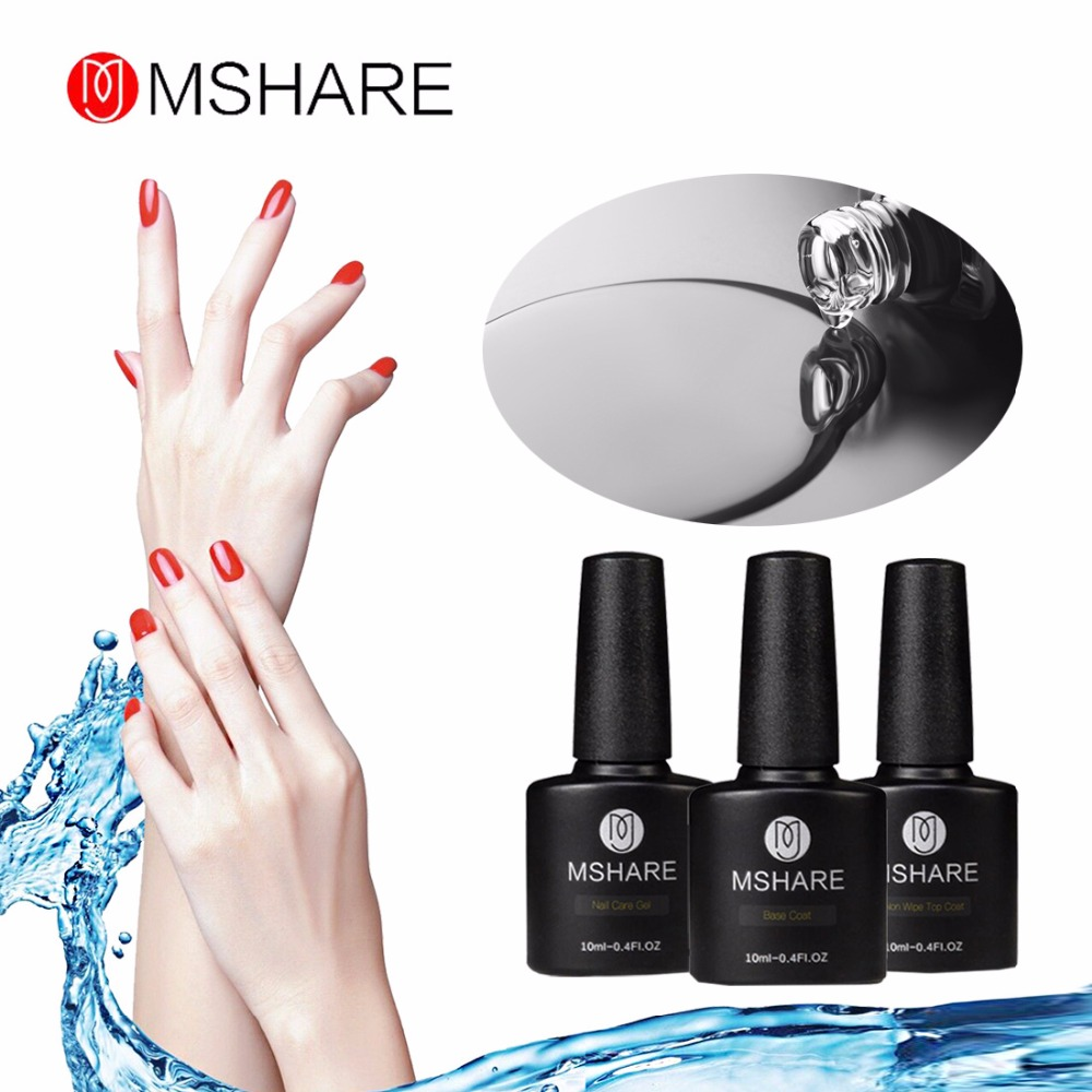 MSHARE 3st Förstärkningsgelfärg Non-Wipe Base Top Coat Primer Nagellack UV Gel Polish No Sticky Layer Lacquer Bond MS8