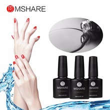 MSHARE 3pcs Reinforcement+Non Wipe Top + Base Coat Gel Varnish Nail Polish UV Gel Polish No Sticky Layer Lacquer Bond MS8