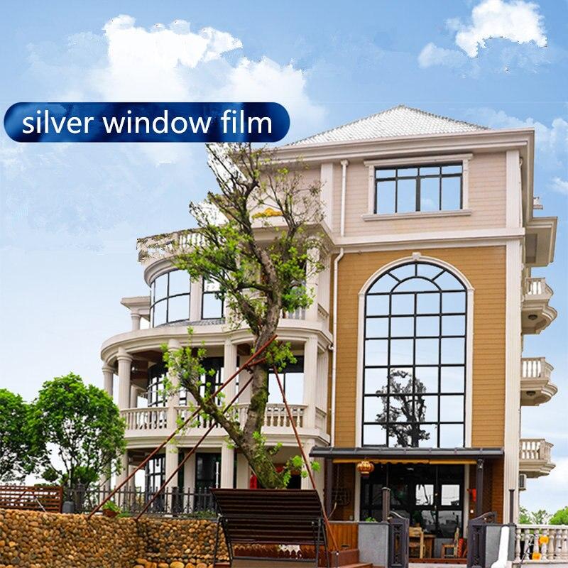 100 cm x 600 cm argent haute qualité PET Film maison fenêtre salle de bains Film One Way miroir isolation autocollants solaire réfléchissant