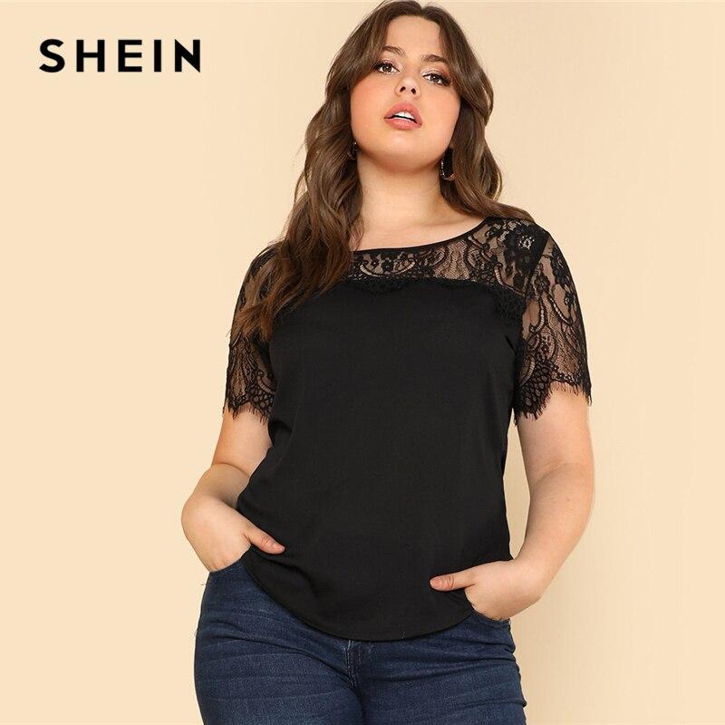 SHEIN Lace Yoke Curved Hem Tee 2018 Summer Black Round Neck Short Sleeve Modern Top Women Plus Size Elegant T-shirt 1