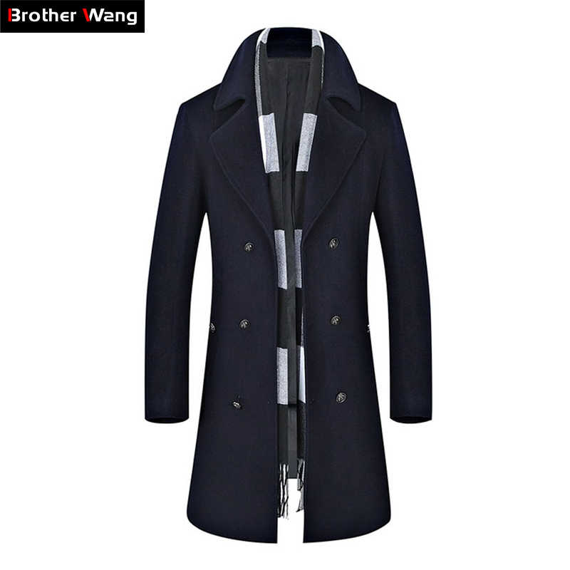 2019 Autumn Winter New Men's Long Trench Coat Men Wool Fashion Casual Double Breasted Slim Fit Windbreaker Jaket Brand Clothing