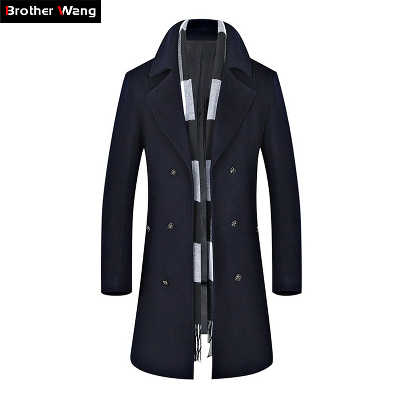 2019 Automne Hiver Nouveaux Hommes de Longue Tranchée Manteau Hommes Laine Mode Casual Double Breasted Slim Fit Coupe-Vent Jaket Marque vêtements