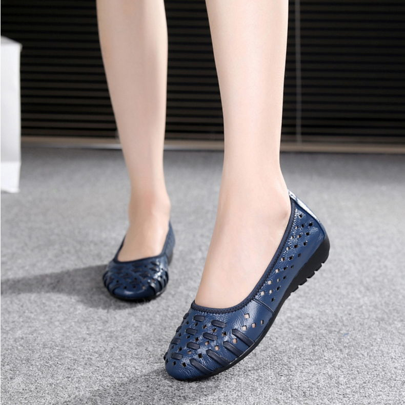 GYKZ 2018 New Women Loafers Lady Flat Shoes Woman Summer Flats Hollow Out Comfortable Soft Outsole Genuine Leather Moccasins hollow out breathable women sandals bowtie loafers sweet candy colors women flats solid summer style shoes woman st6 29