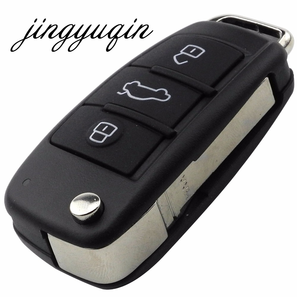 jingyuqin Folding Flip 3 Button Car Remote Key Shell For Audi Q7 A3 A4 A6 A6L A8 TT Uncut Blade Fob Case Replacement jingyuqin flip cnc uncut cut blade key shell for chevrolet cruze remote key case keyless fob 3 button include cutting blade