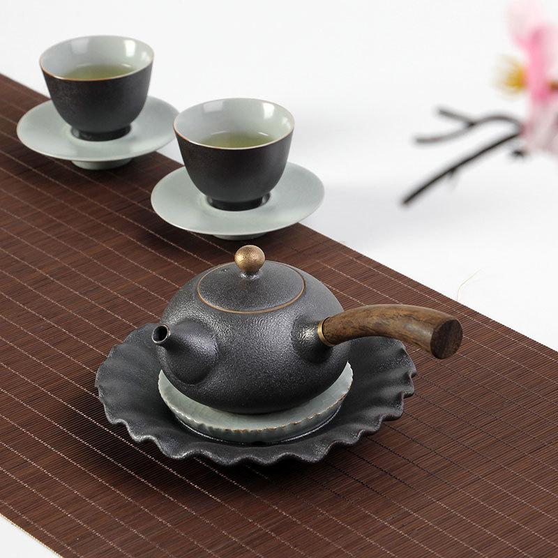 Image 3 - PINNY New Design Japanese Style Teapots Ceramic Wood Handle Kung Fu Tea Sets Porcelain Ceramic Kettle Vintage Tea Serviceservice teaservice setservice porcelaine -