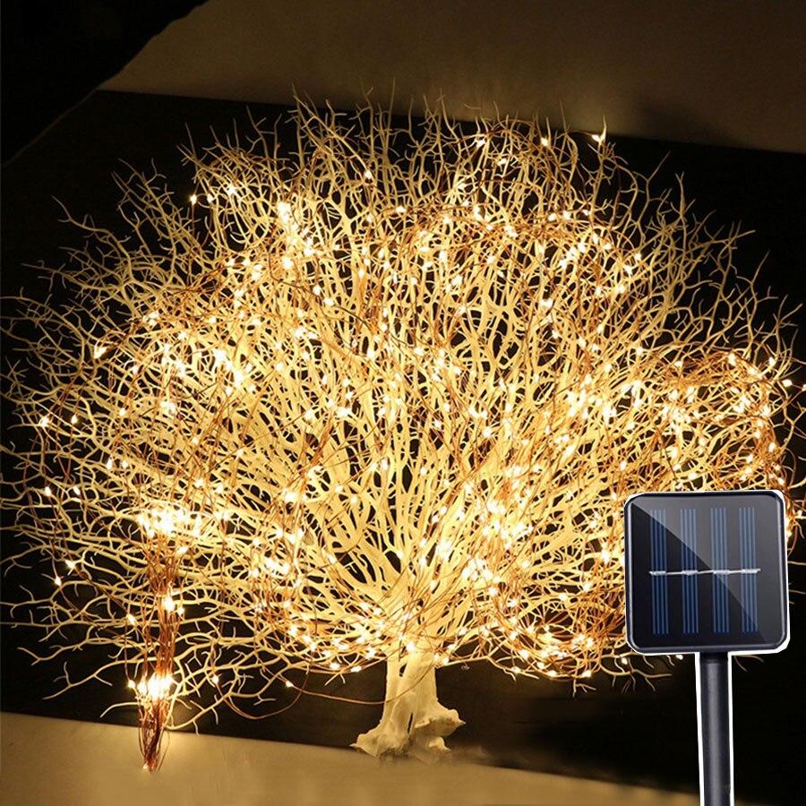 Thrisdar 10x2M 200LED Copper Wire Solar LED String Fairy Light Vine Branch Starry Fairy String Light Garden Plants Tree Light