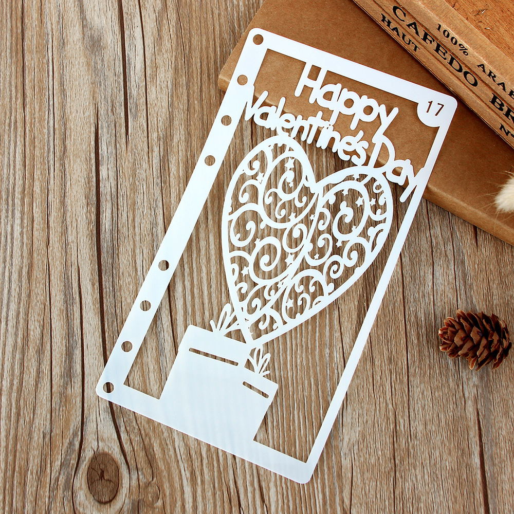 1Pcs A6 Happy Valentine Heart DIY Craft Layering Stencils Painting Scrapbooking Stamping Embossing Album Paper Card Template