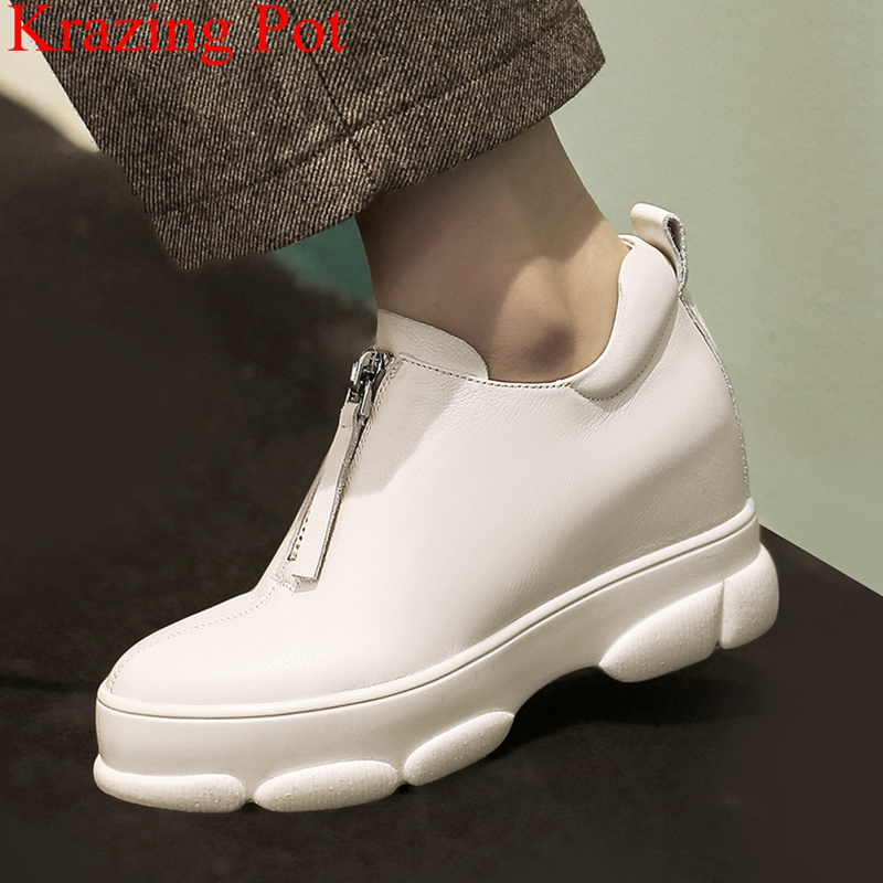 2019 new arrival genuine leather zipper round toe wedges platform casual shoes high heels sneaker women