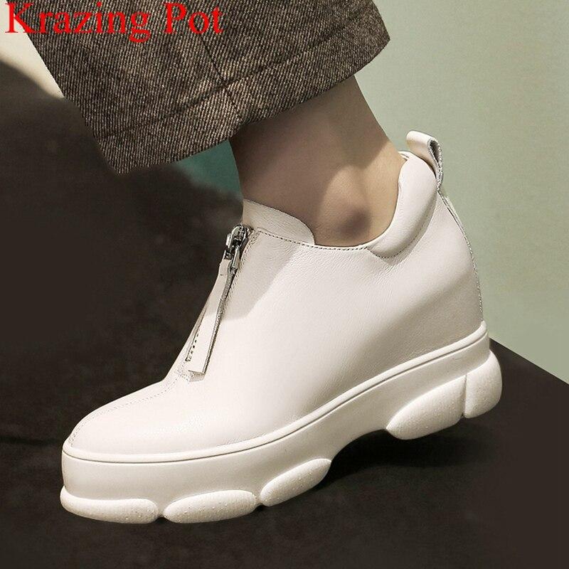 2019 nouveauté en cuir véritable fermeture à glissière bout rond chaussures décontractées plate forme talons hauts baskets femmes chaussures vulcanisées LB7-in Chaussures vulcanisées femme from Chaussures    1