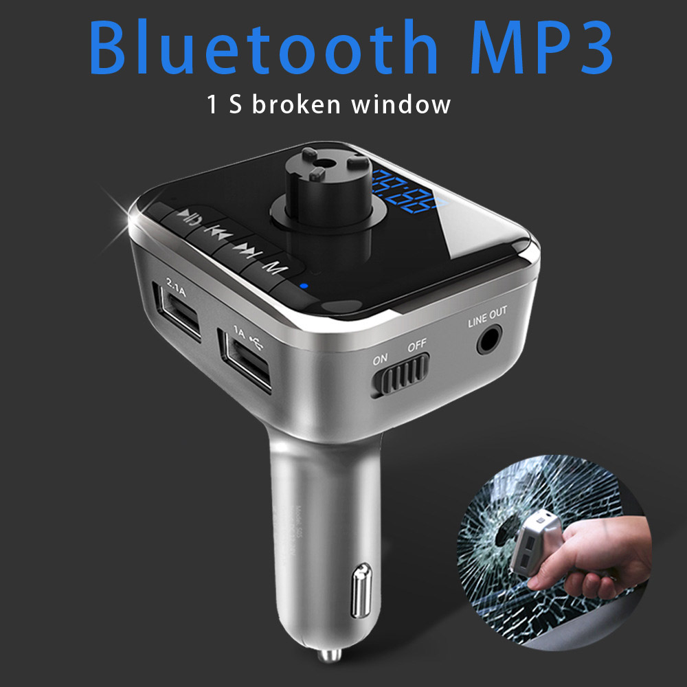 Car charger bluetooth auto safety hammer usb charger 2 plug charging for the <font><b>phone</b></font> ayfon adapter quick fast <font><b>cigarette</b></font> <font><b>lighter</b></font> in