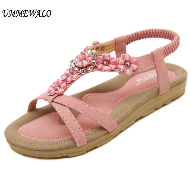 UMMEWALO Sandals Women Casual Thong Sandals Floral Rhinestone Designer  Elastic Band Ladies Gladiator Sandal Shoes Zapatos Mujer 4c70bf01b1f7