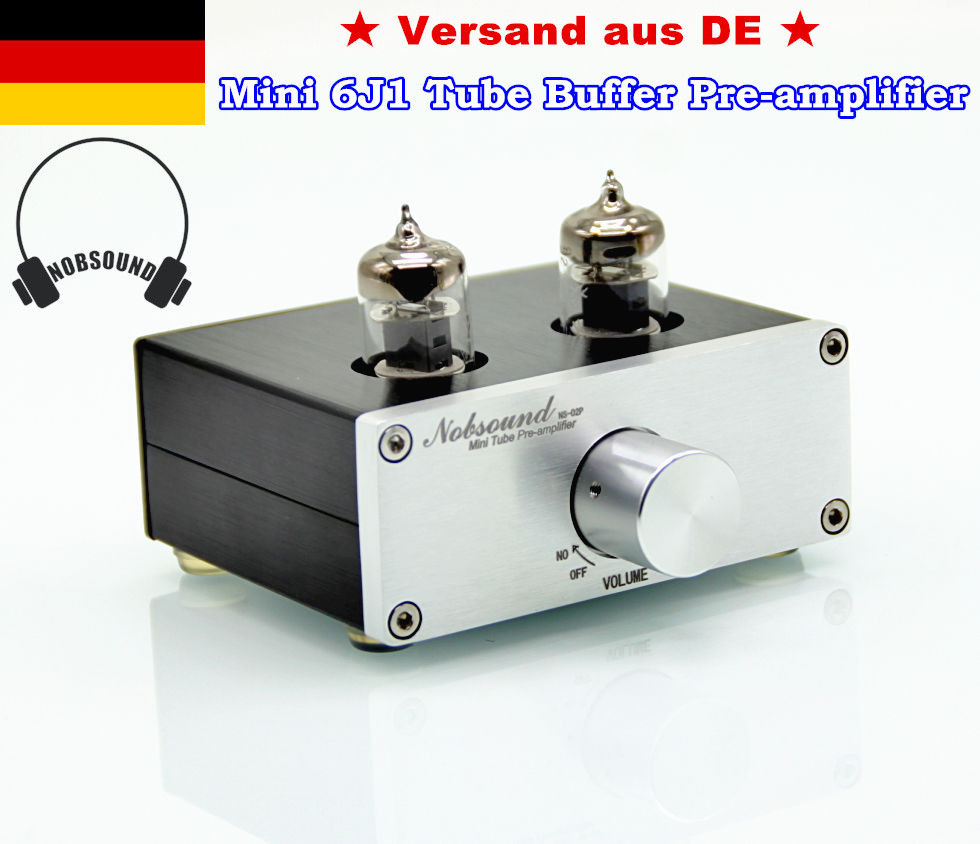 Nobsound NS-02P 6J1 Valve Tube Pre-Amplifier Hi-Fi Buffer Stereo Audio Preamp Tube Amplifier With EU Power Adapter nobsound mini 6j1 tube preamp audio hifi buffer pre amplifier aluminum chassis