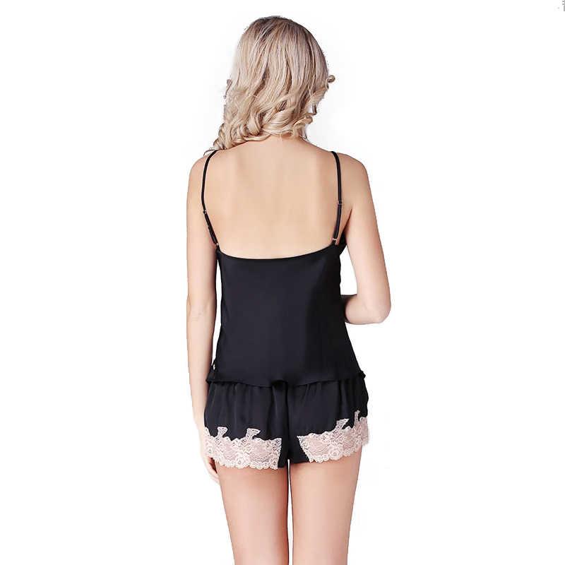 cfb8cd853287 ... 100% Silk Satin Women Pajamas Sets Lace Chemises Slip Sleepwear Pajama  with Hot Short Lace ...