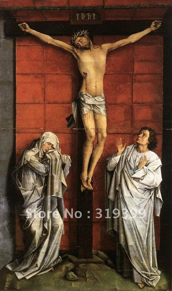 100% peinture à l'huile à la main reproduction, Cristo crucificado, con la Virgen y San Juan par Rogier van der weiden, livraison DHL gratuite,