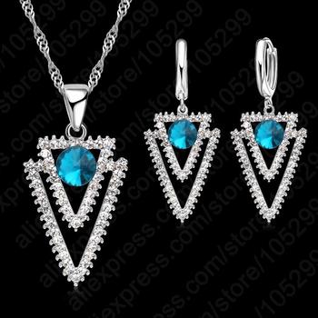 Pure 925 Sterling Silver  CZ Crystal Triangle Geometry Ocean Blue Pendant Necklace Woman Wedding Jewelry Gift Set