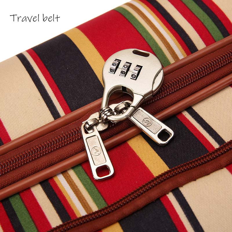 Image 4 - Travel Belt 20 inch oxford Rolling Luggage set Spinner Women Brand Suitcase Wheels stripe Carry On Travel Bags-in Rolling Luggage from Luggage & Bags