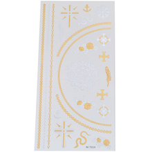 Sheet Tattoo Sticker Temporary Disposable Metal Gold Silver Cross Flash Accessory