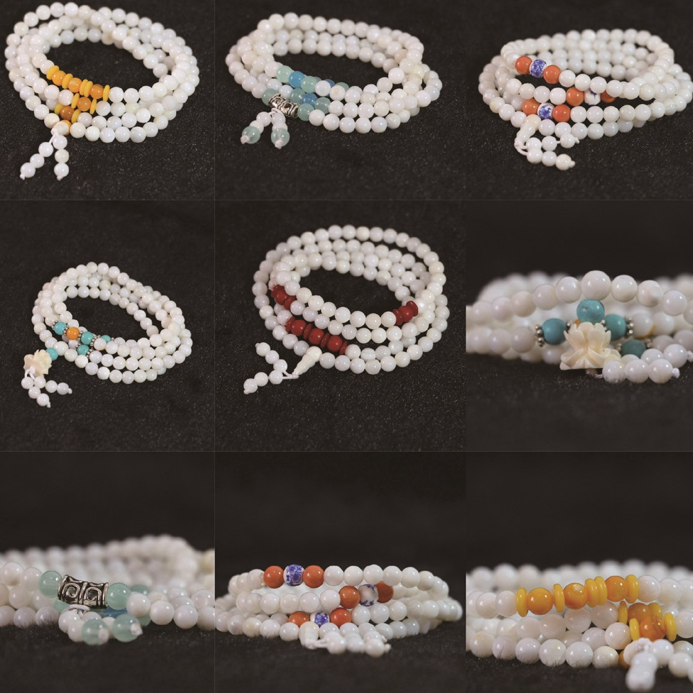 White Conch Shell 6mm Multilayer bracelet 108 beads with colorful spacer beads fashion diy bracelet B792