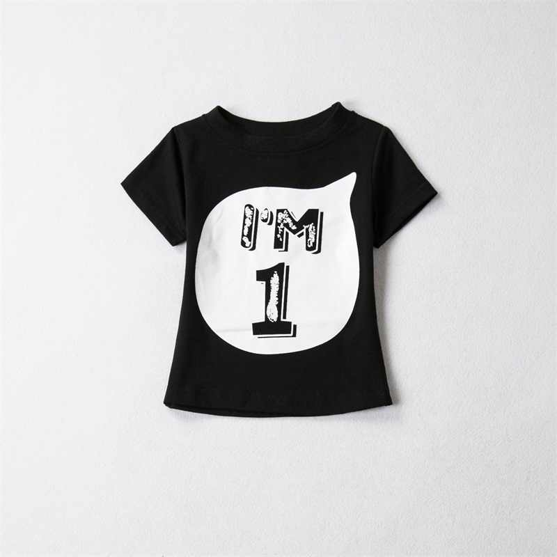 Children 100Cotton Short Sleeves T Shirts Boy Girls Cartoon Birthday Shirt 1st