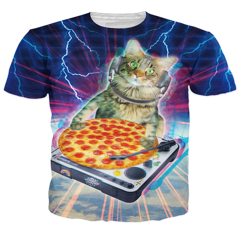 Drop shiping! DJ Paws T-Shirt droppin some sick beats pizza 3d print t shirt Cats Kitten Animal Tops Women Men Casual tees