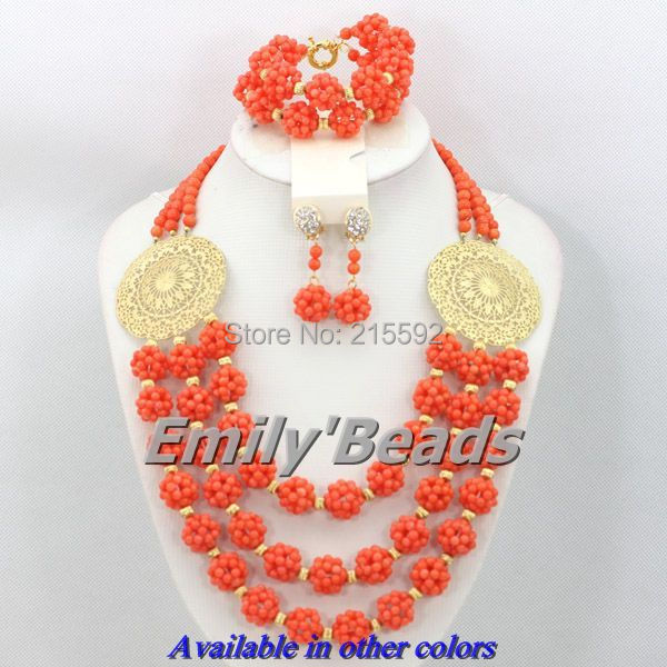 Ensemble de bijoux de Costume africain fête grand ensemble Orange perles africaines boucles d'oreilles colliers ensembles de bijoux Braclet livraison gratuite CJ295
